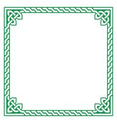 Celtic green frame border pattern - vector image