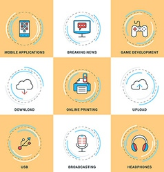 Modern line icons set modile apps game cloud vector