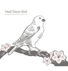 Bird on a branch drawing vector