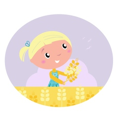 Girl harvested grain vector