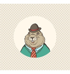 Groundhog hipster vector image