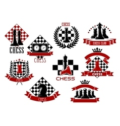 Sport emblems and icons of chess game vector