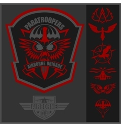 Special unit military emblem set design vector