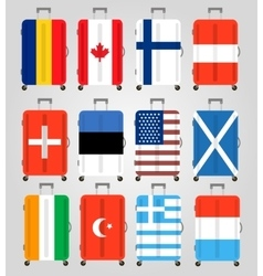 Suitcase icons set 12 suitcases with flags vector