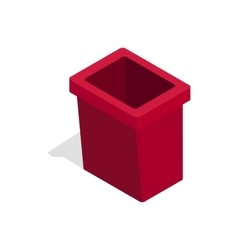Burgundy trash bin icon isometric 3d style vector