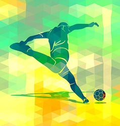 Silhouette kicking footballer vector