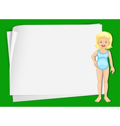 Swimming girl paper copyspace vector