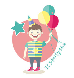 A boy with baloons having fun at a birthday party vector