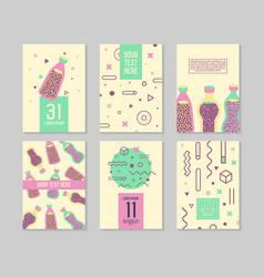 abstract memphis style posters templates set vector image