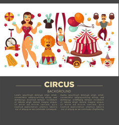 Amazing circus promo poster with participants of vector
