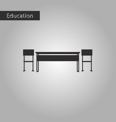 black and white style icon school desk vector image