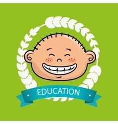 Boy student graduation icon vector