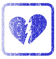 Broken heart framed textured icon vector
