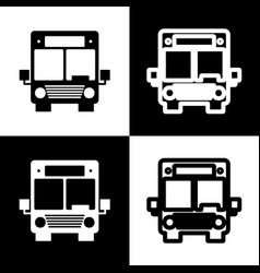 Bus sign black and white vector