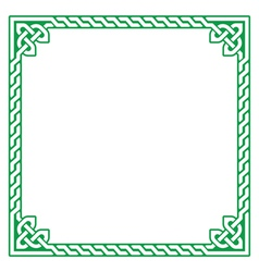 Celtic green frame border pattern - vector image vector image