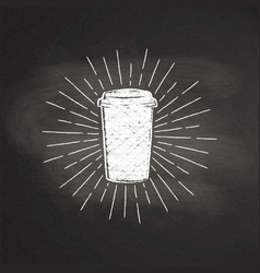Chalk paper coffee cup silhouette on black board vector