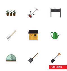 Flat icon garden set of hothouse flowerpot vector
