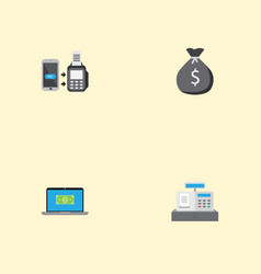 Flat icons till finance sack computer and other vector