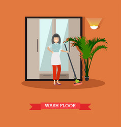 flat of cleaning woman washing vector image vector image