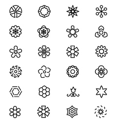 Flowers and floral line icons 5 vector