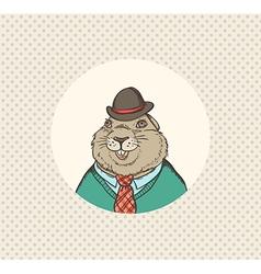 Groundhog hipster vector