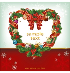 Heart shaped wreath christmas decoration card vector image