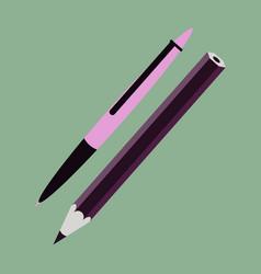Icon in flat design fashion pen and pencil vector