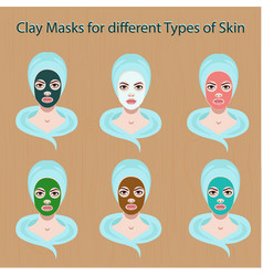 icons of female face with clay masks set vector image vector image