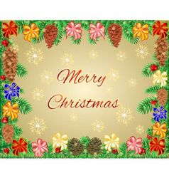 Merry Christmas frame of the branches with ribbon vector image