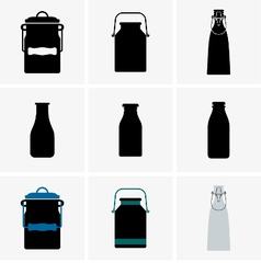 Milk cans and bottles vector image