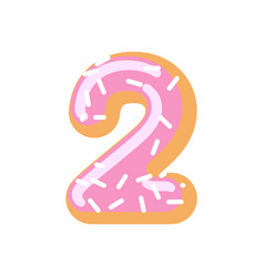 Number 2 donut doughnut font two sweet alphabet vector