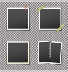 Photo frames with shadow on isolated background vector