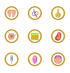 Pregnant icon set cartoon style vector