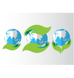 Set of eco icon with earth vector
