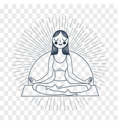 Silhouette girl yoga linear style vector