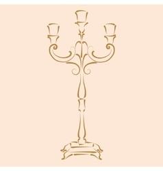 Sketched candle holder vector image