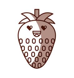 Strawberry fresh fruit kawaii character vector