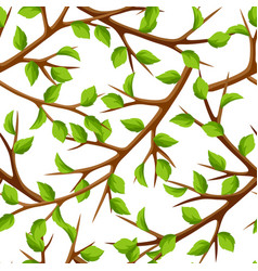 Summer seamless pattern with branches of tree and vector