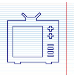 Tv sign navy line icon on vector