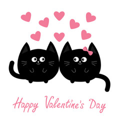 Valentines day round shape black cat icon love vector