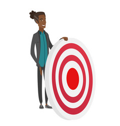 Young african-american businessman and dart board vector