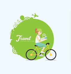 young woman riding on bicycle with map vector image vector image