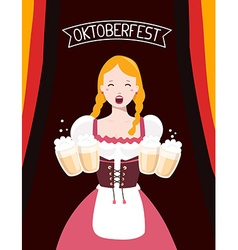 colorful of german girl waitress in traditio vector image