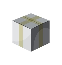 Cardboard box taped up icon cartoon style vector