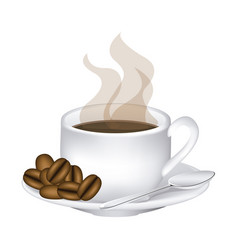 Image color with hot cup of coffee serving on dish vector