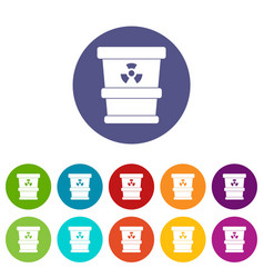 Plastic office waste bin icons set flat vector