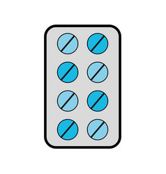 Grey blister pack pills vector