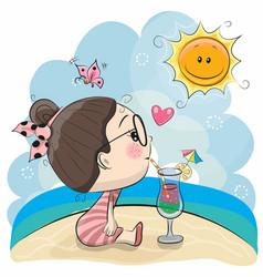 Cute cartoon girl on the beach vector