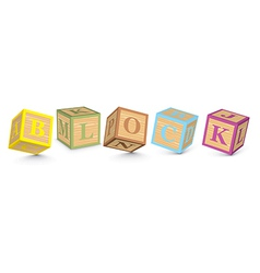 Word block written with alphabet blocks vector