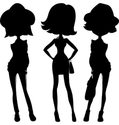 Silhouette fashion girls top models vector